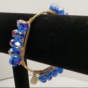 Bourbon & Bowties Wire Bangle Bracelet Gold Blue 7